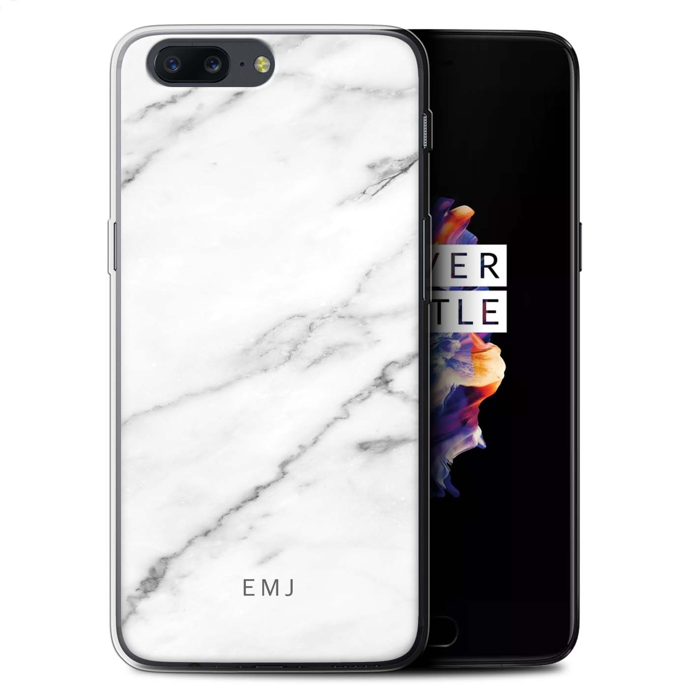 Personnalise-Marbre-Personnalise-Coque-pour-OnePlus-5-Initiales-Gel-TPU-Housse