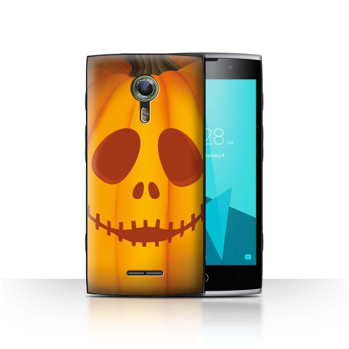 STUFF4-Back-Case-Cover-Skin-for-Alcatel-Flash-2-Halloween-Pumpkin
