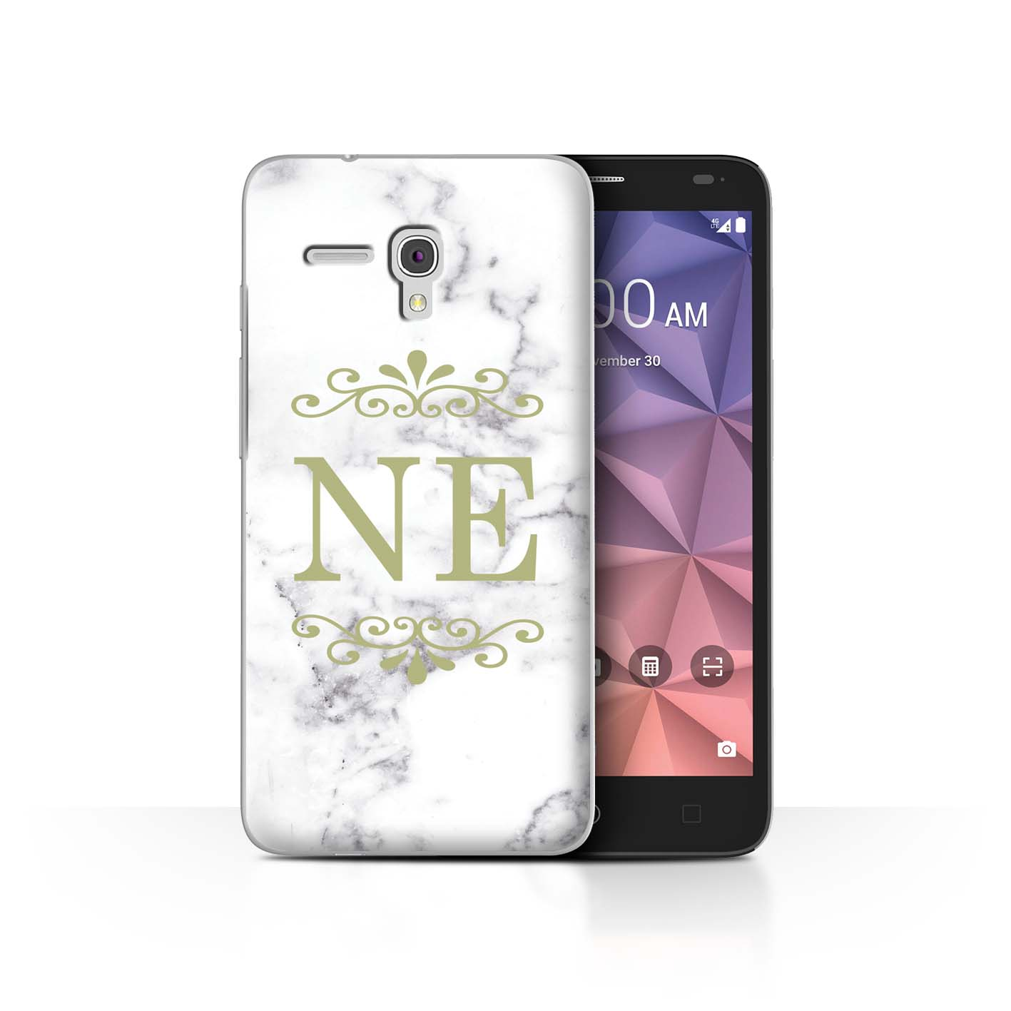 Personnalise-Mode-Marbre-Blanc-Coque-Etui-pour-Alcatel-Smartphone-Initiales