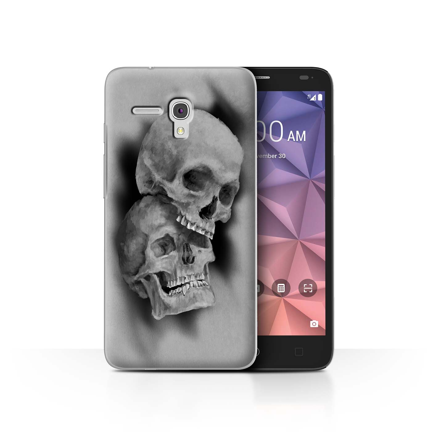 STUFF4-Back-Case-Cover-Skin-for-Alcatel-Fierce-XL-Skull-Art-Sketch
