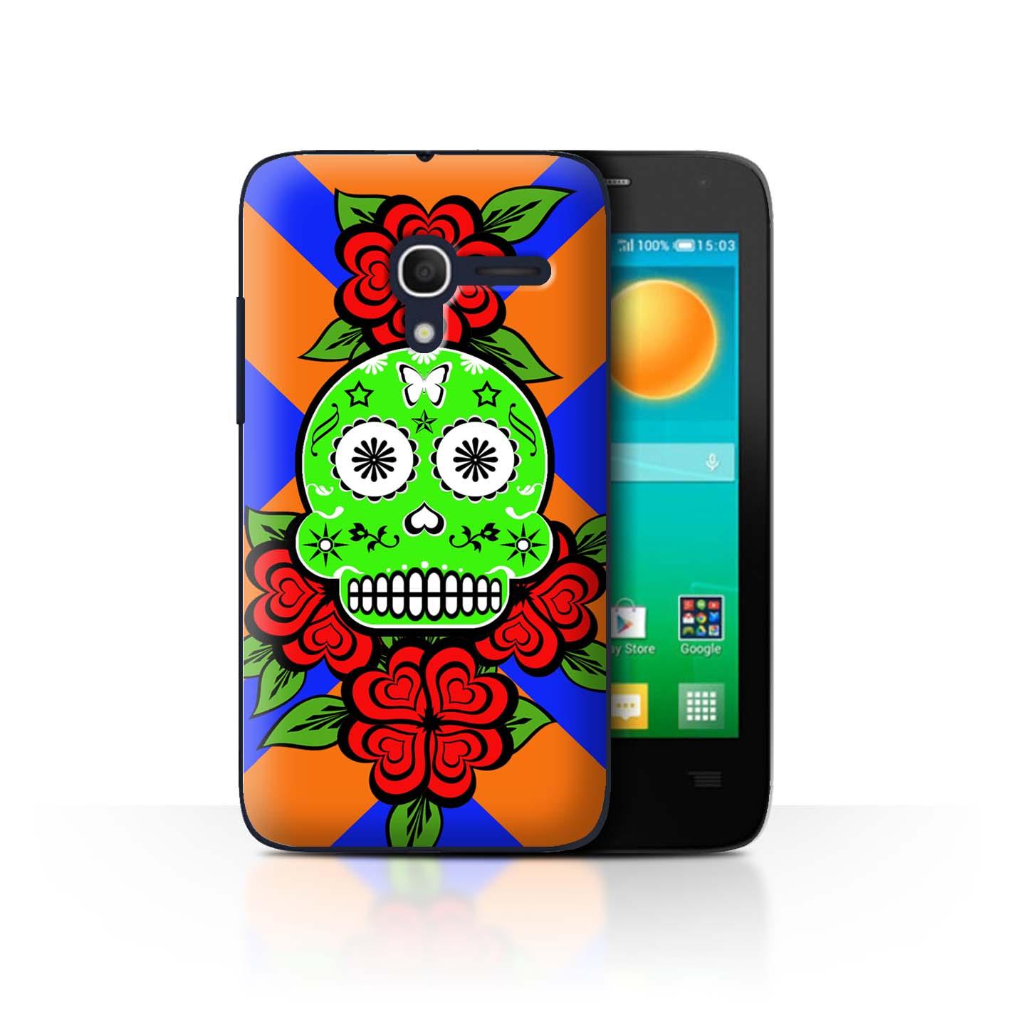 STUFF4-Back-Case-Cover-Skin-for-Alcatel-Pop-D3-Candy-Skull-Calavera