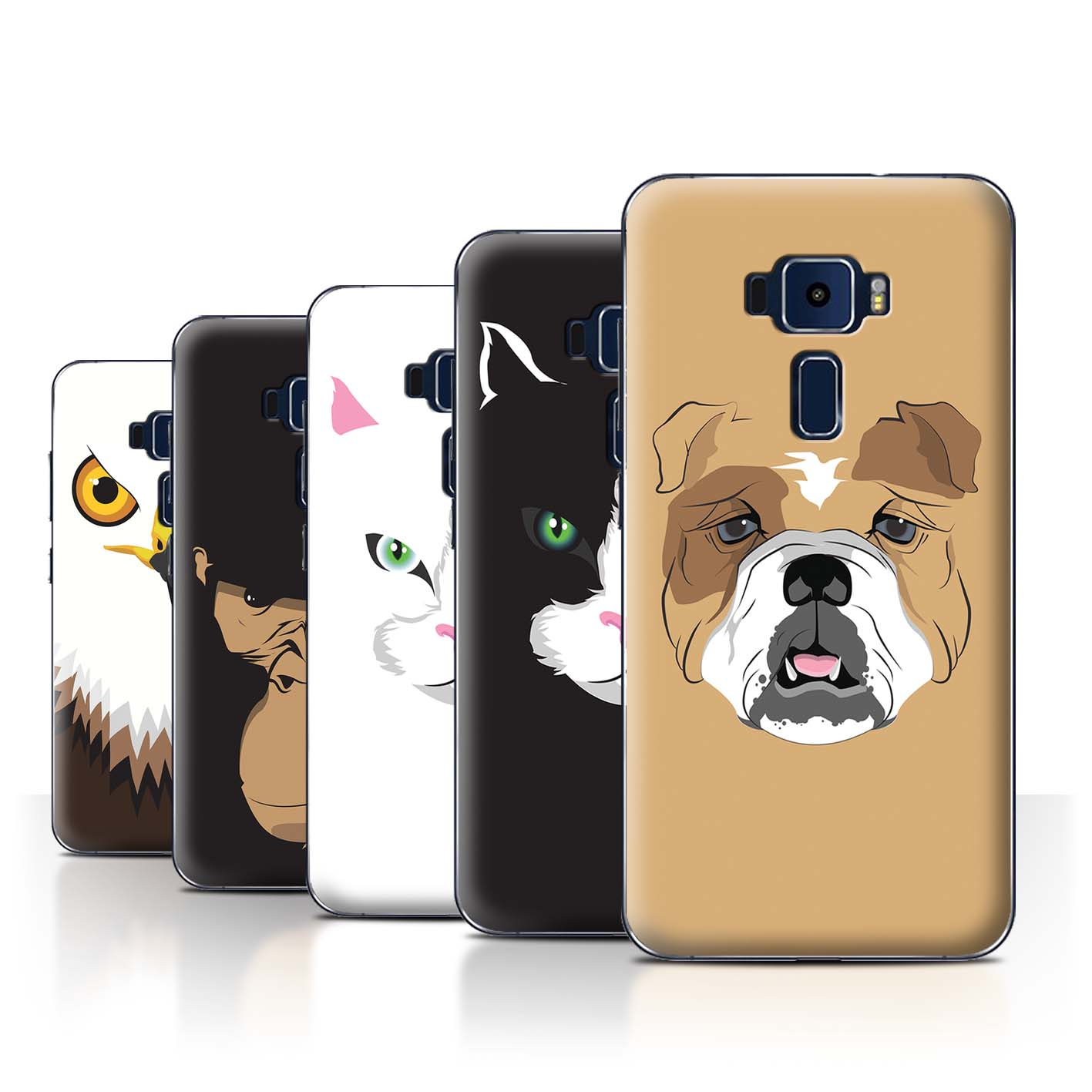 STUFF4-Back-Case-Cover-Skin-for-Asus-Zenfone-3-ZE552KL-Animal-Faces