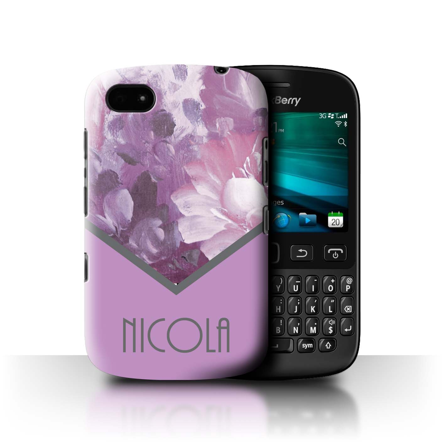 Personnalise-Florales-Coutume-Coque-Etui-pour-Blackberry-Smartphone-Initiales