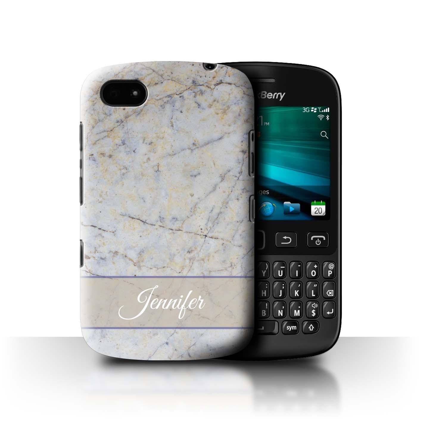 Personnalise-Marbre-Coque-Etui-pour-Blackberry-Telephone-Smartphone-Initiale-Nom