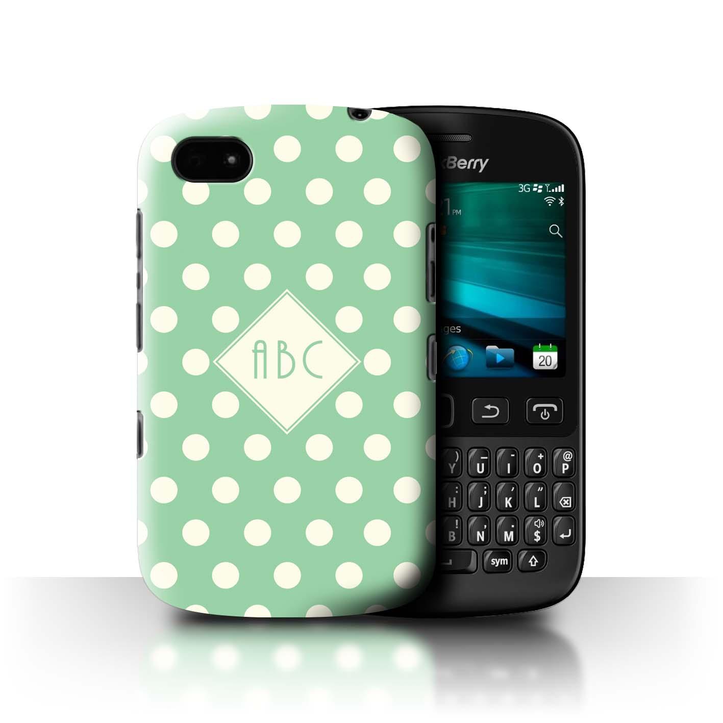 Personnalise-Polka-A-Pois-Coutume-Coque-Etui-pour-Blackberry-Initiales-Texte