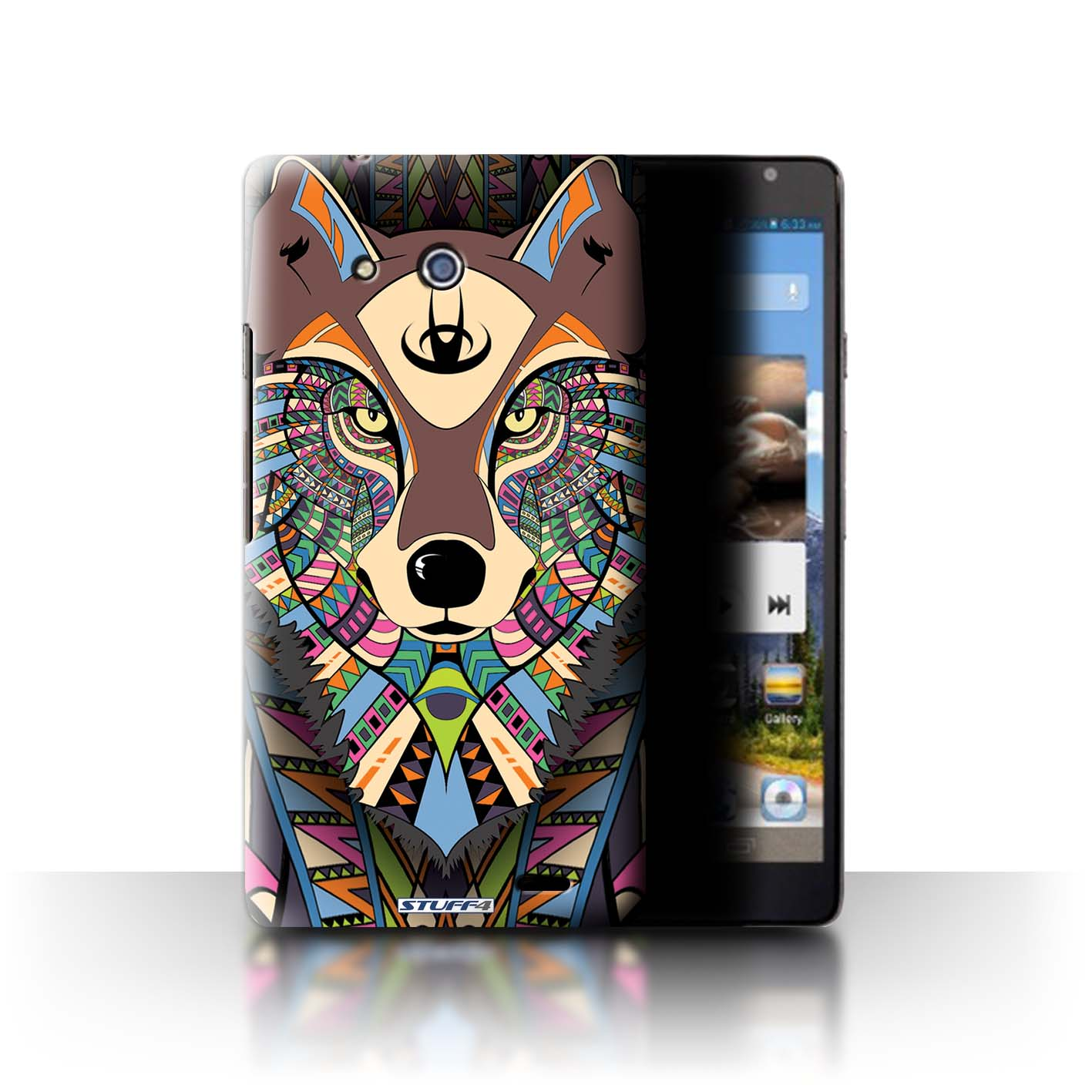 STUFF4 Phone Case/Back Cover for Huawei Ascend Mate /Aztec Animal Design