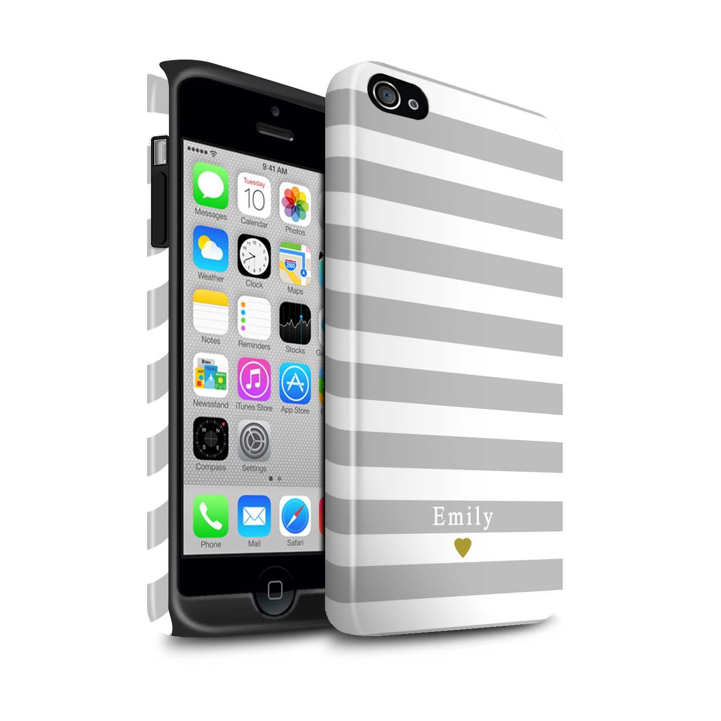 Personnalise-Rayures-Raye-Coutume-Coque-Etui-Brillant-pour-Apple-iPhones-Nom