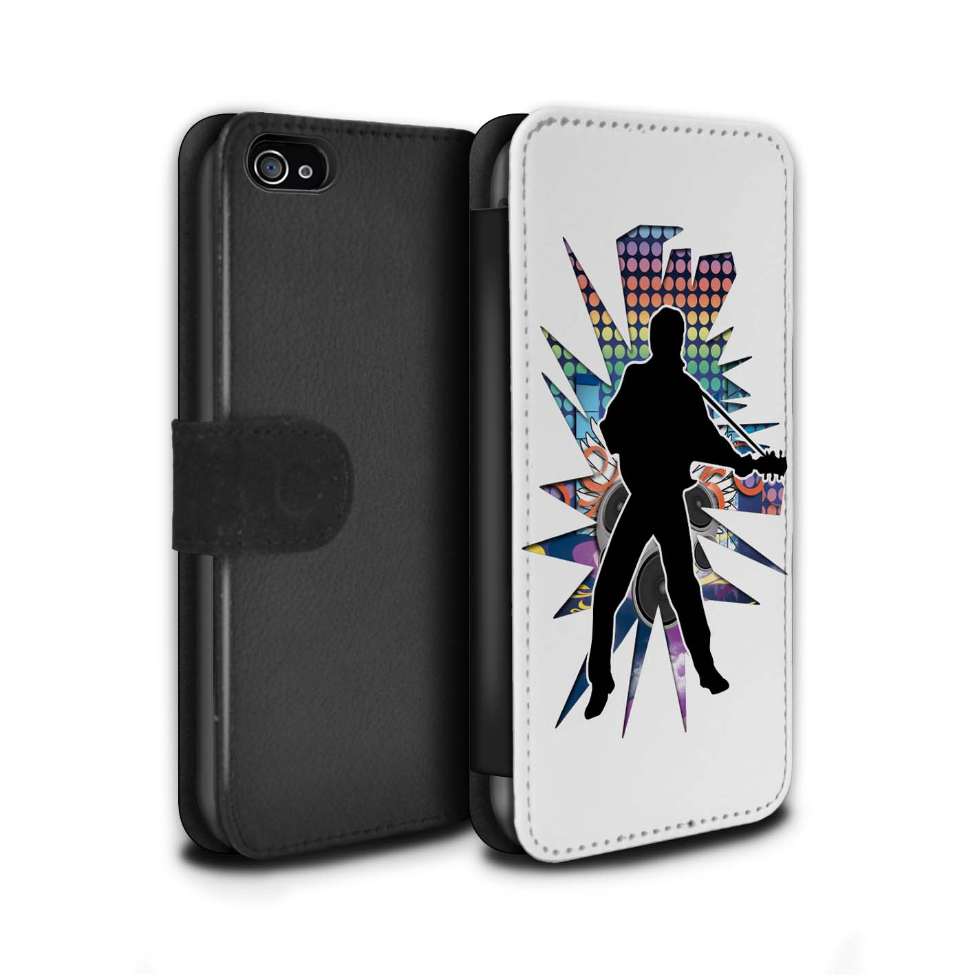 STUFF4-Coque-Etui-Case-Cuir-PU-pour-Apple-iPhone-4-4S-Rock-Star-Pose