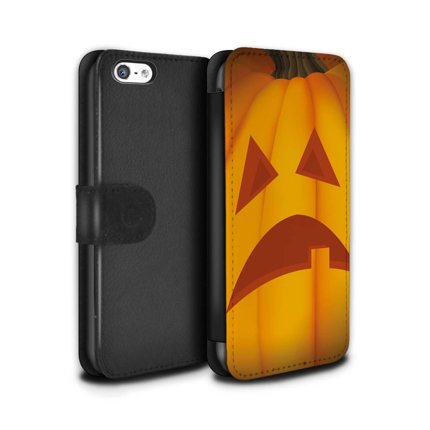 STUFF4-PU-Leder-Huelle-Case-Tasche-fuer-Apple-iPhone-5C-Halloween-Kuerbis