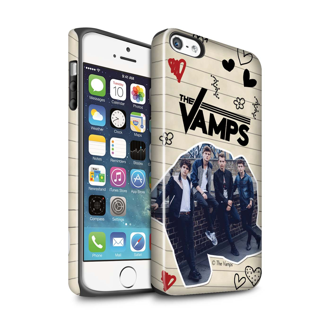 The-Vamps-Coque-Robuste-Brillant-pour-Apple-iPhone-5-5S-The-Vamps-Livre-Doodle