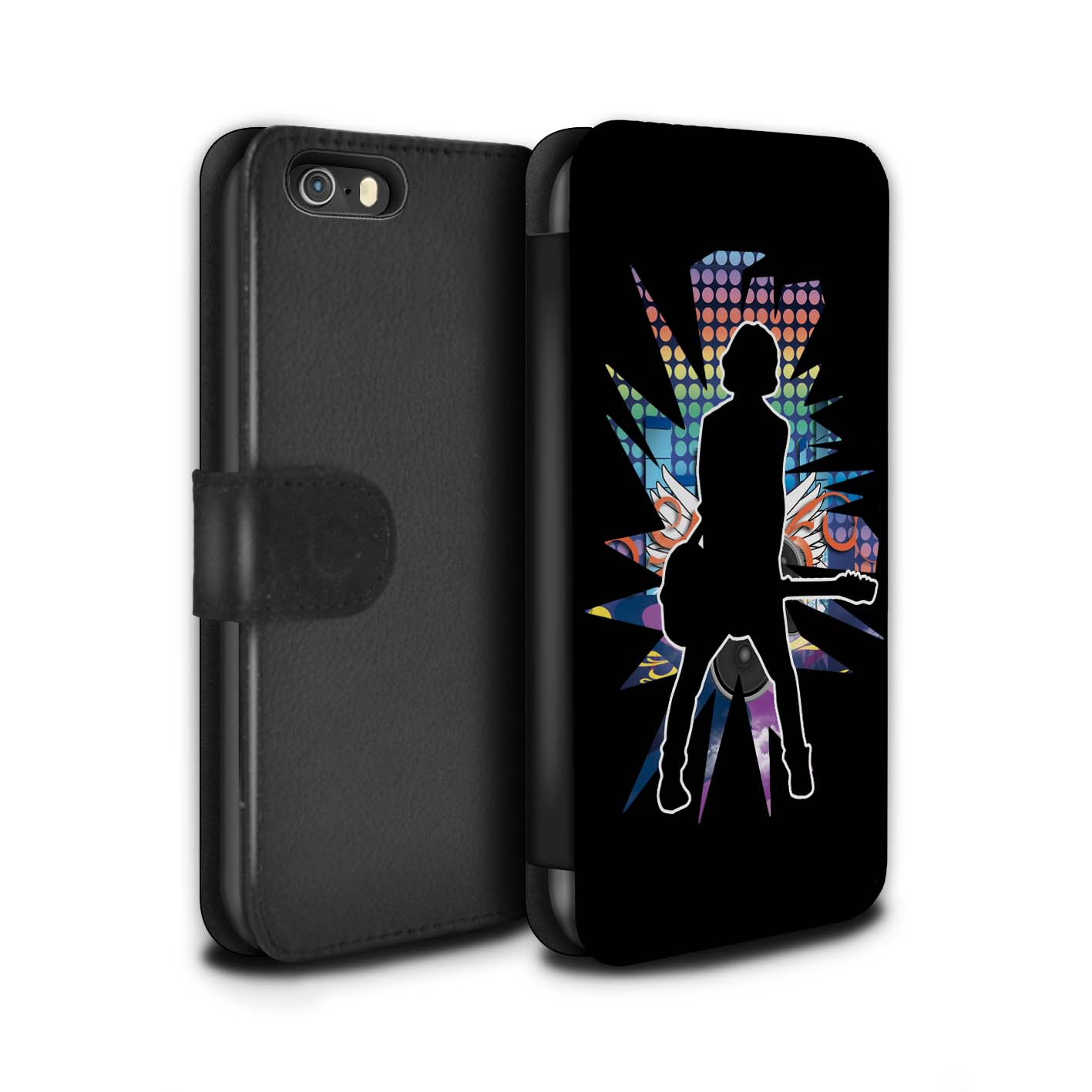 STUFF4-Coque-Etui-Case-Cuir-PU-pour-Apple-iPhone-SE-Rock-Star-Pose