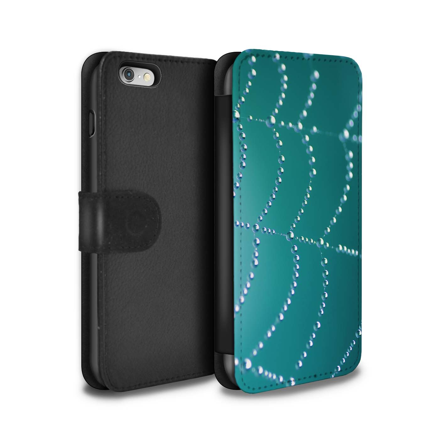 STUFF4-Coque-Etui-Case-Cuir-PU-pour-Apple-iPhone-6-Toile-d-039-araignee-Perles