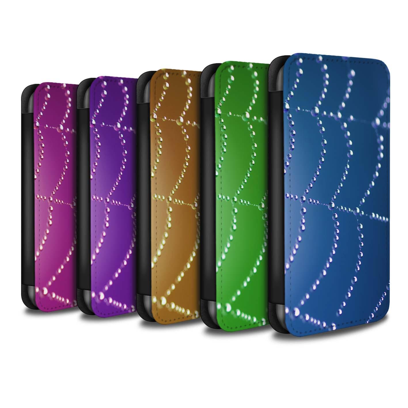 Coque-Etui-Case-Cuir-PU-pour-Apple-iPhone-6S-Plus-Toile-d-039-araignee-Perles