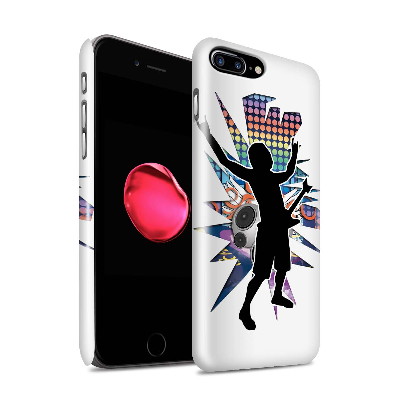 Coque-Etui-Brillant-de-STUFF4-pour-Apple-iPhone-7-Plus-Rock-Star-Pose