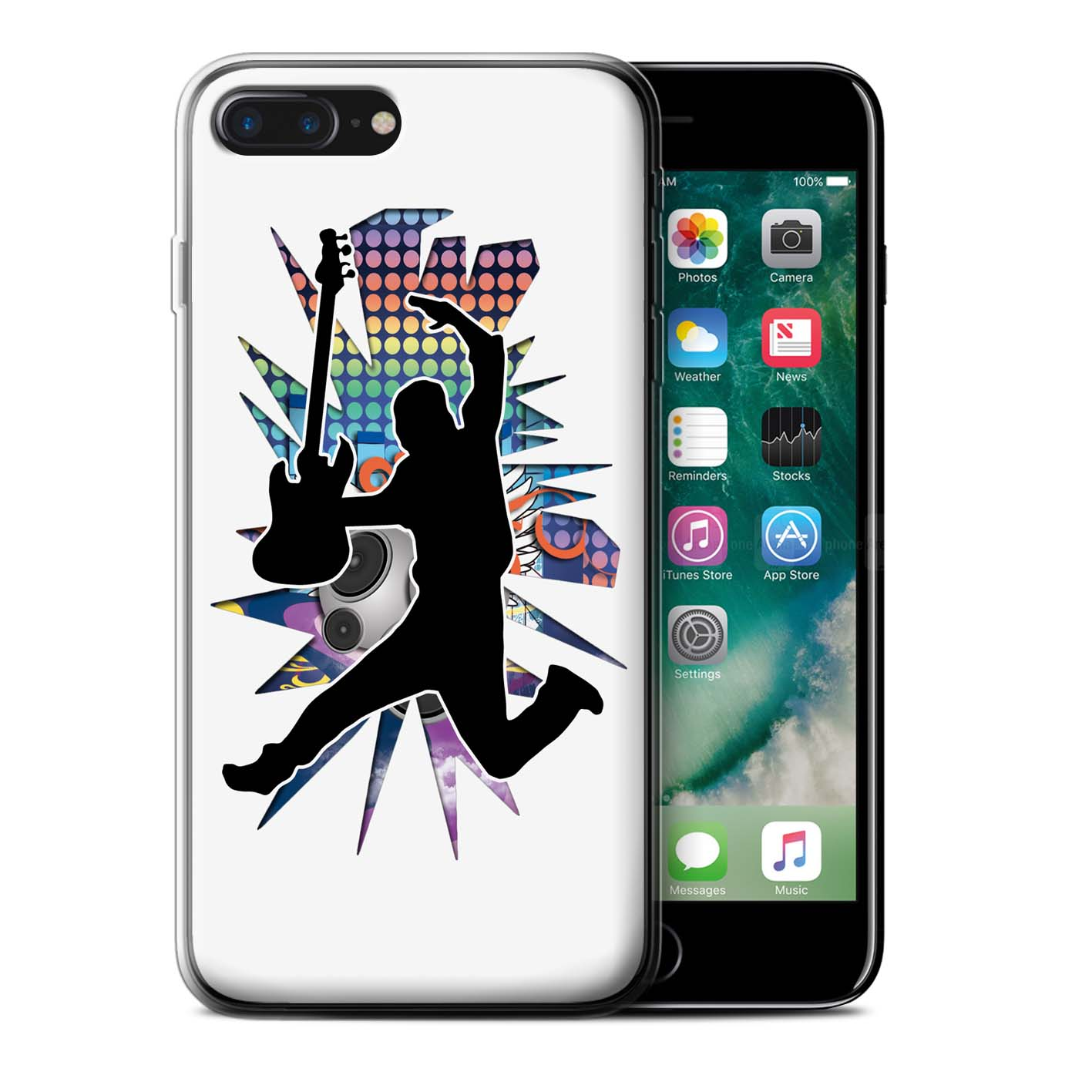 Gel-TPU-Coque-Etui-de-Stuff4-pour-Apple-iPhone-7-Plus-Rock-Star-Pose