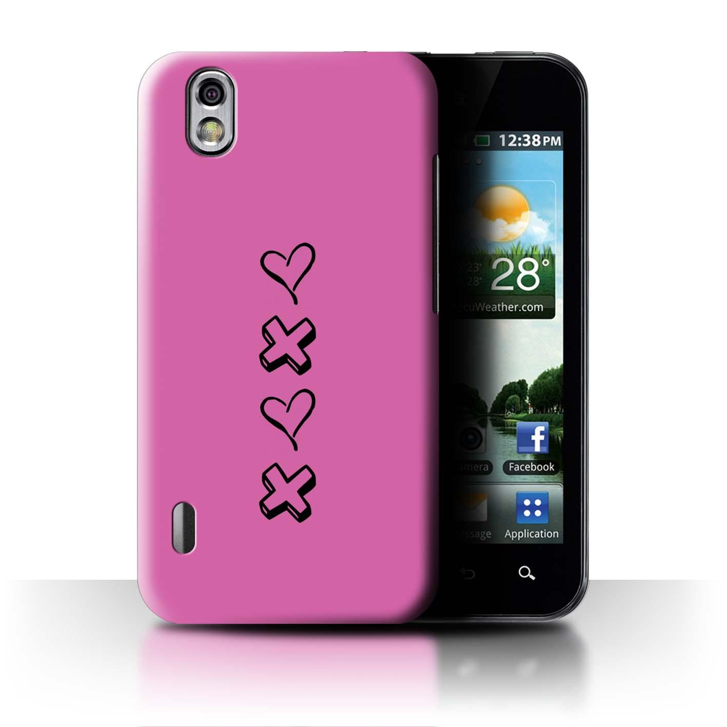 Stuff 4 teléfono caso/cubierta trasera para LG Optimus P970/Corazón Xoxo Black