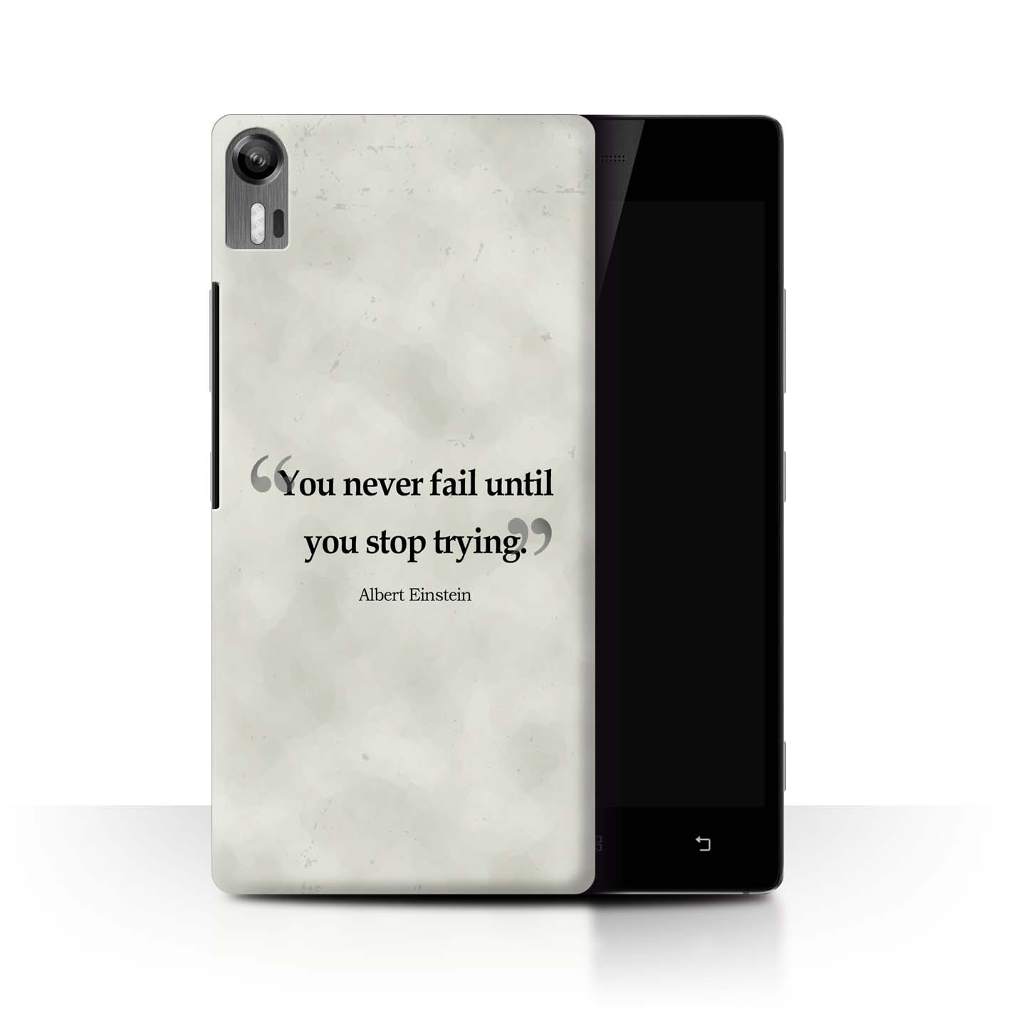 Stuff4 Phone Case Back Cover For Lenovo Vibe Shot Z90 Famous Quotes Grey Smartphone