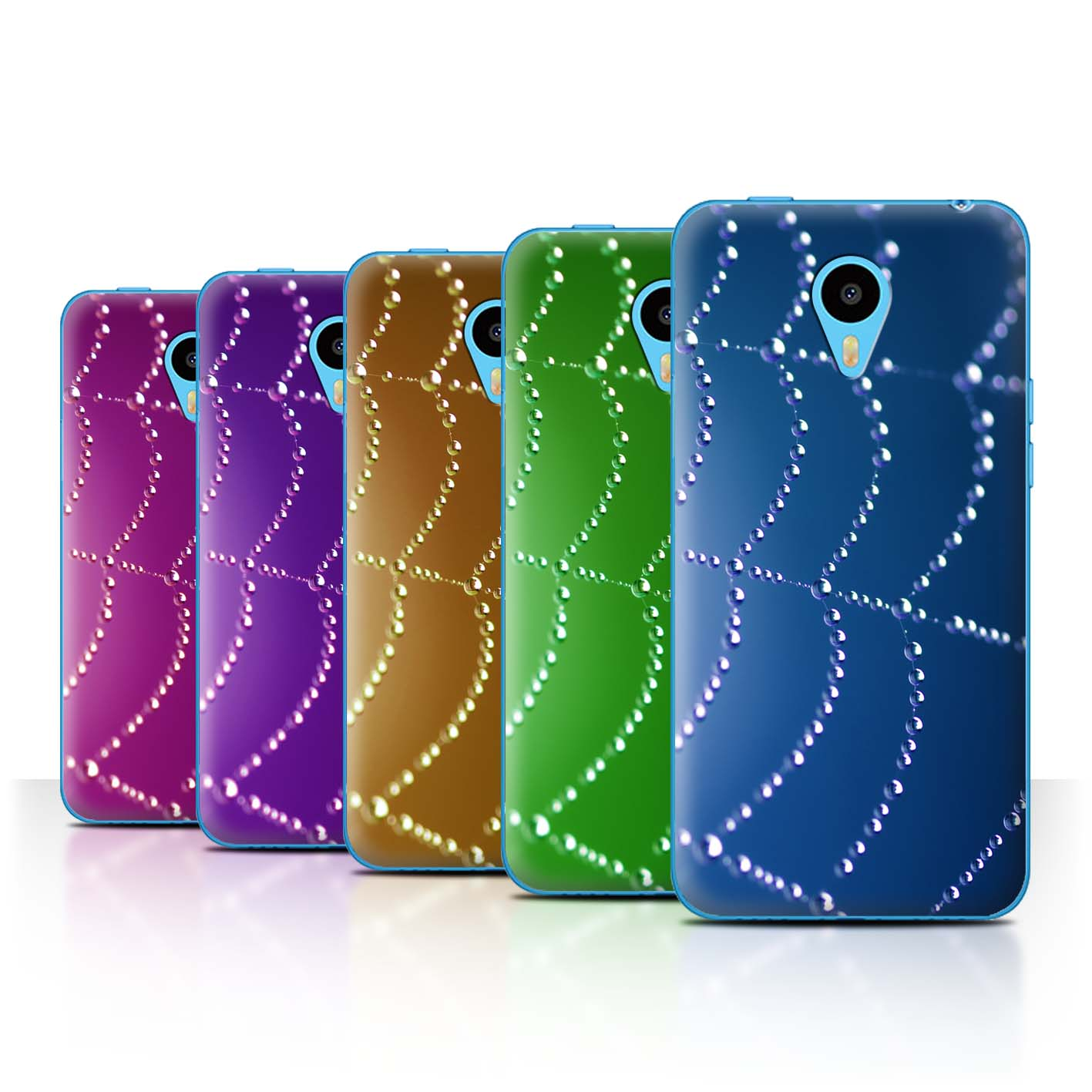 STUFF4-Back-Case-Cover-Skin-for-Meizu-M1N-Spider-Web-Pearls
