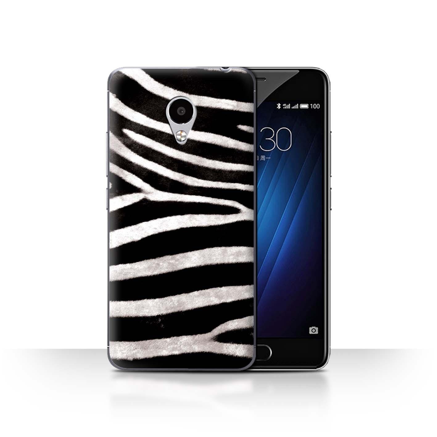 STUFF4-Back-Case-Cover-Skin-for-Meizu-M3S-Zebra-Animal-Skin-Print