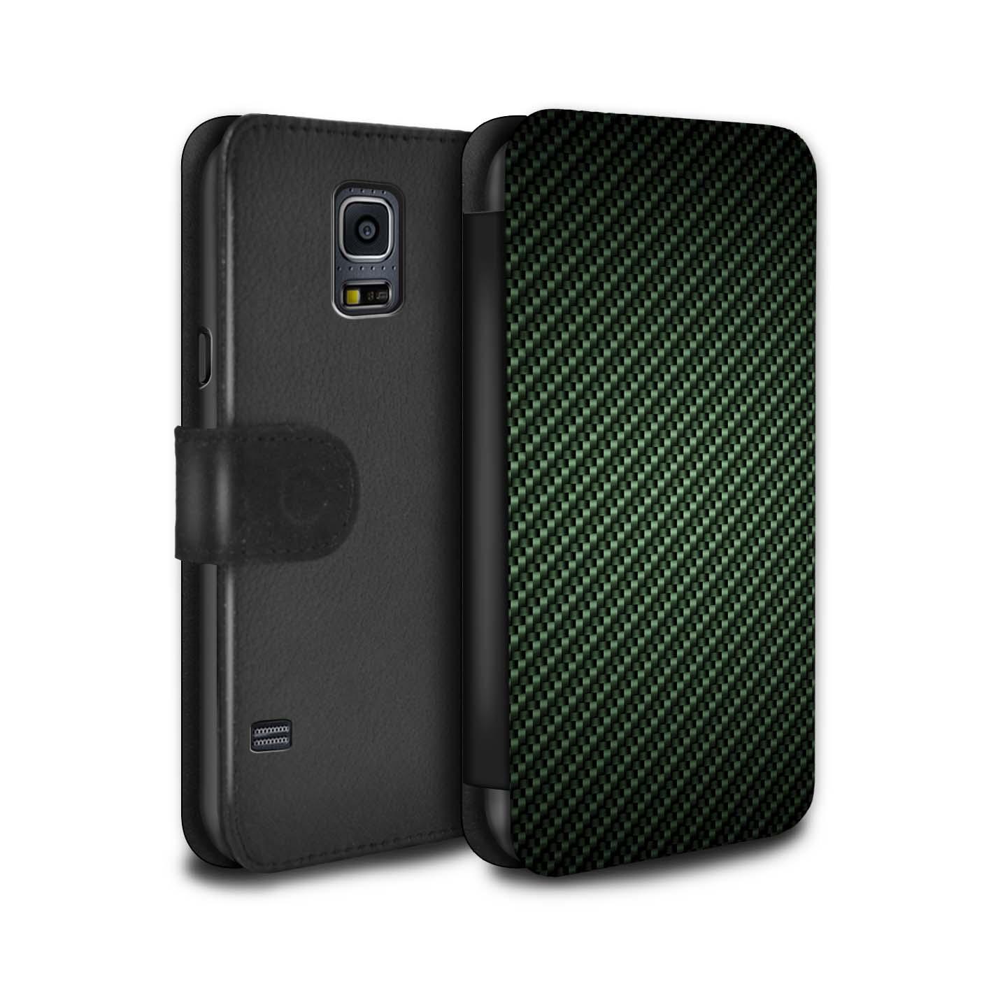 STUFF4-Coque-Case-Cuir-PU-pour-Samsung-Galaxy-S5-SV-Motif-de-Fibre-de-Carbone