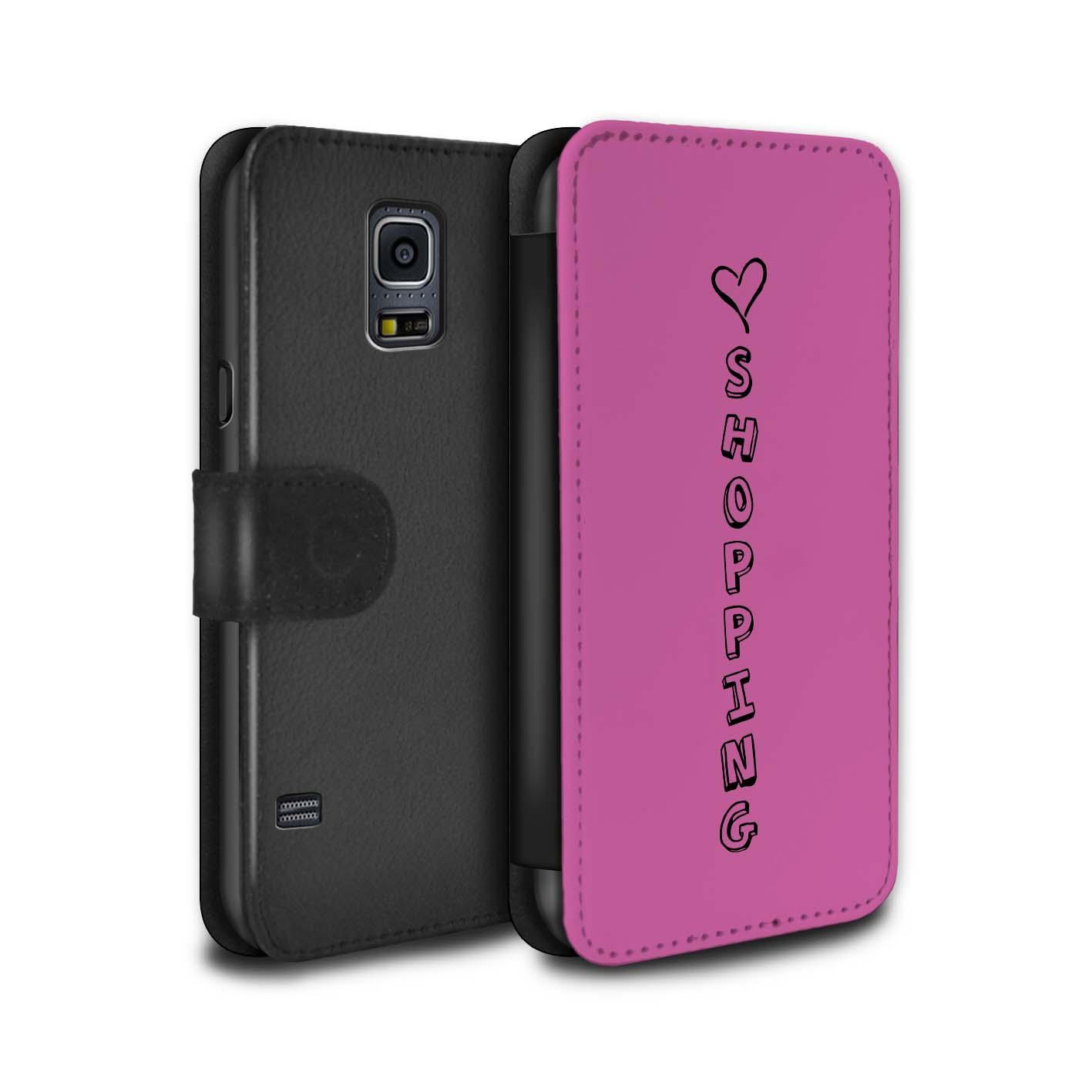 STUFF4 PU-Leder Hülle/Case/Tasche für Samsung Galaxy S5/SV/Herz XOXO