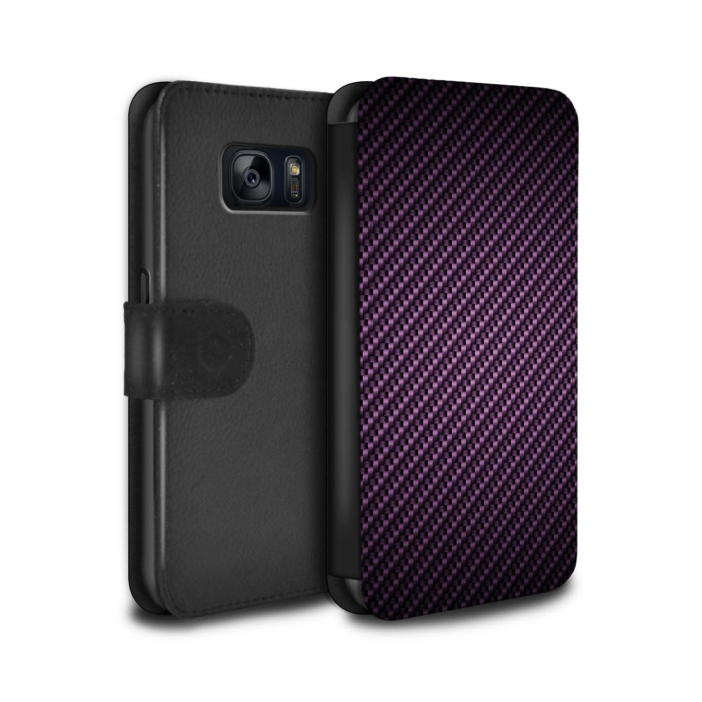 STUFF4-Coque-Etui-Cuir-PU-pour-Samsung-Galaxy-S7-G930-Motif-de-Fibre-de-Carbone
