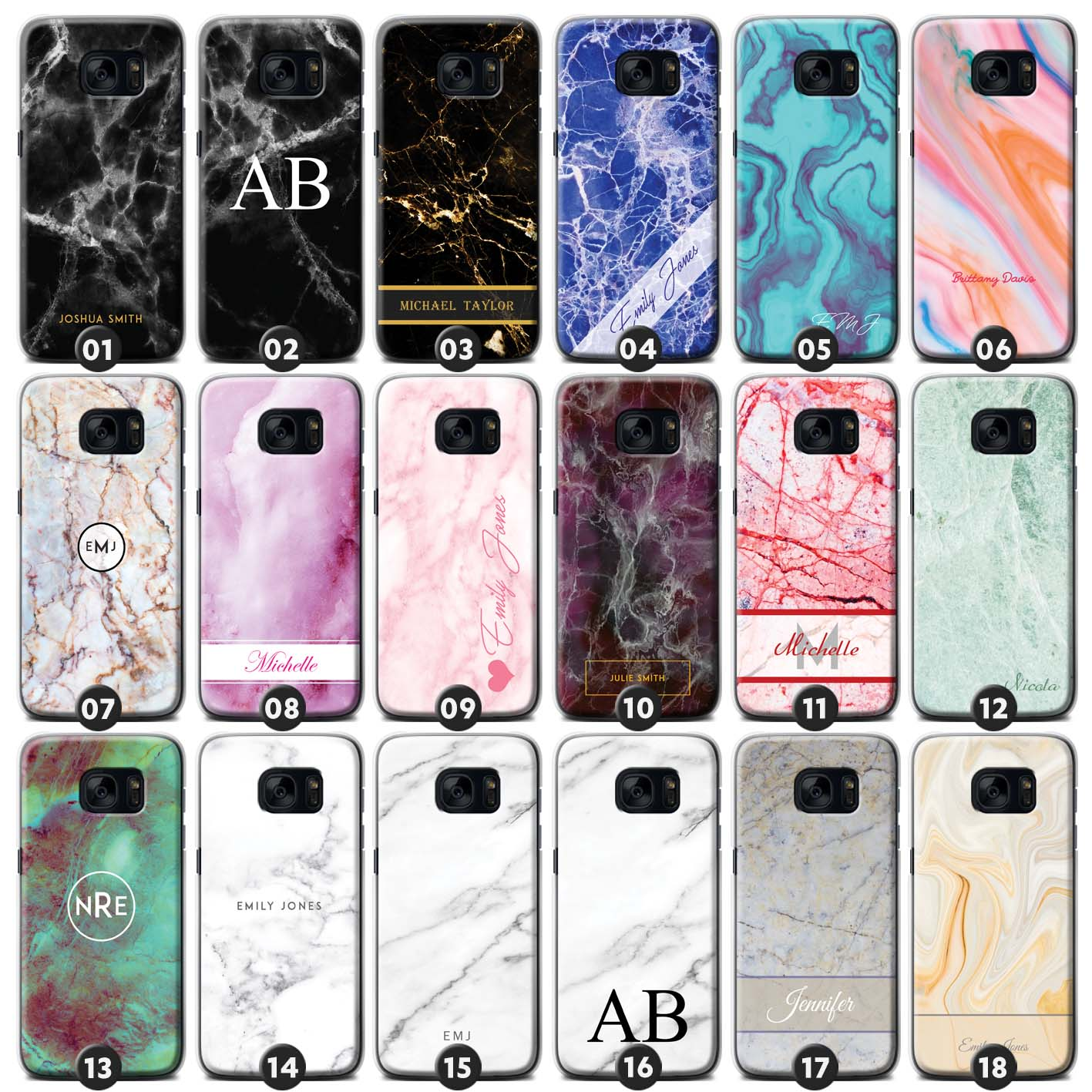 low priced bf893 57285 Personalised Marble Phone Case/Cover for Samsung Galaxy S Initial ...