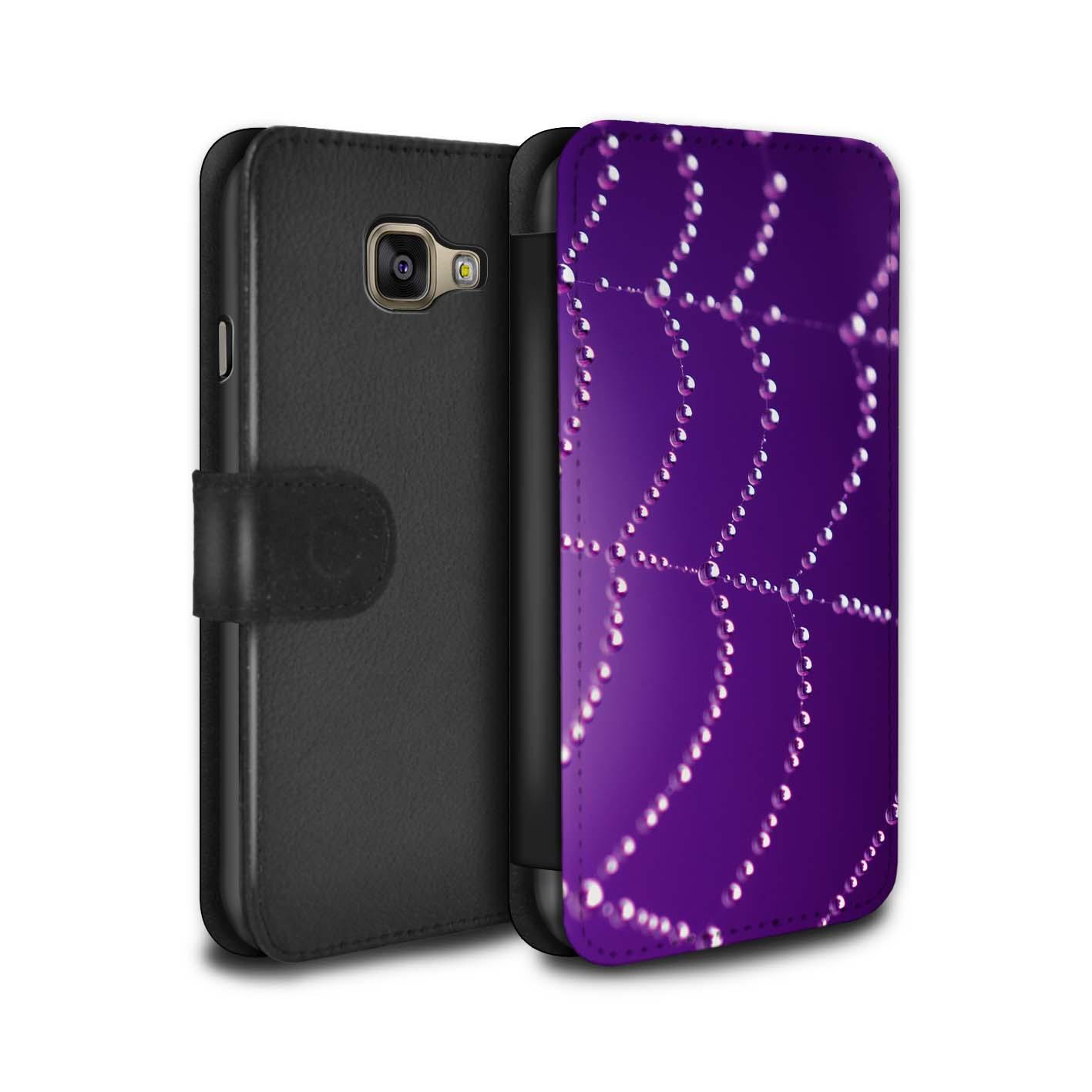 Coque-Etui-Case-Cuir-PU-pour-Samsung-Galaxy-A3-2016-Toile-d-039-araignee-Perles
