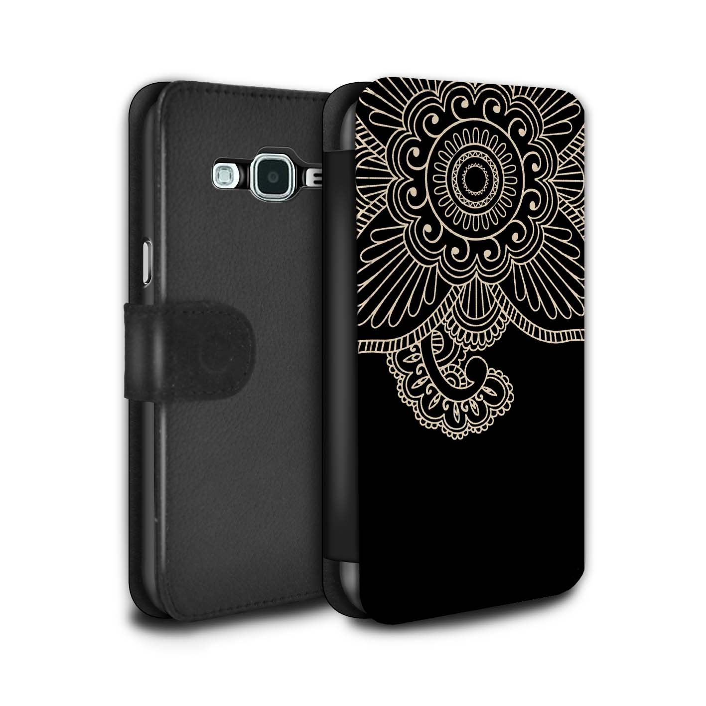 STUFF4-PU-Leather-Case-Cover-Wallet-for-Samsung-Galaxy-J3-Henna-Tattoo