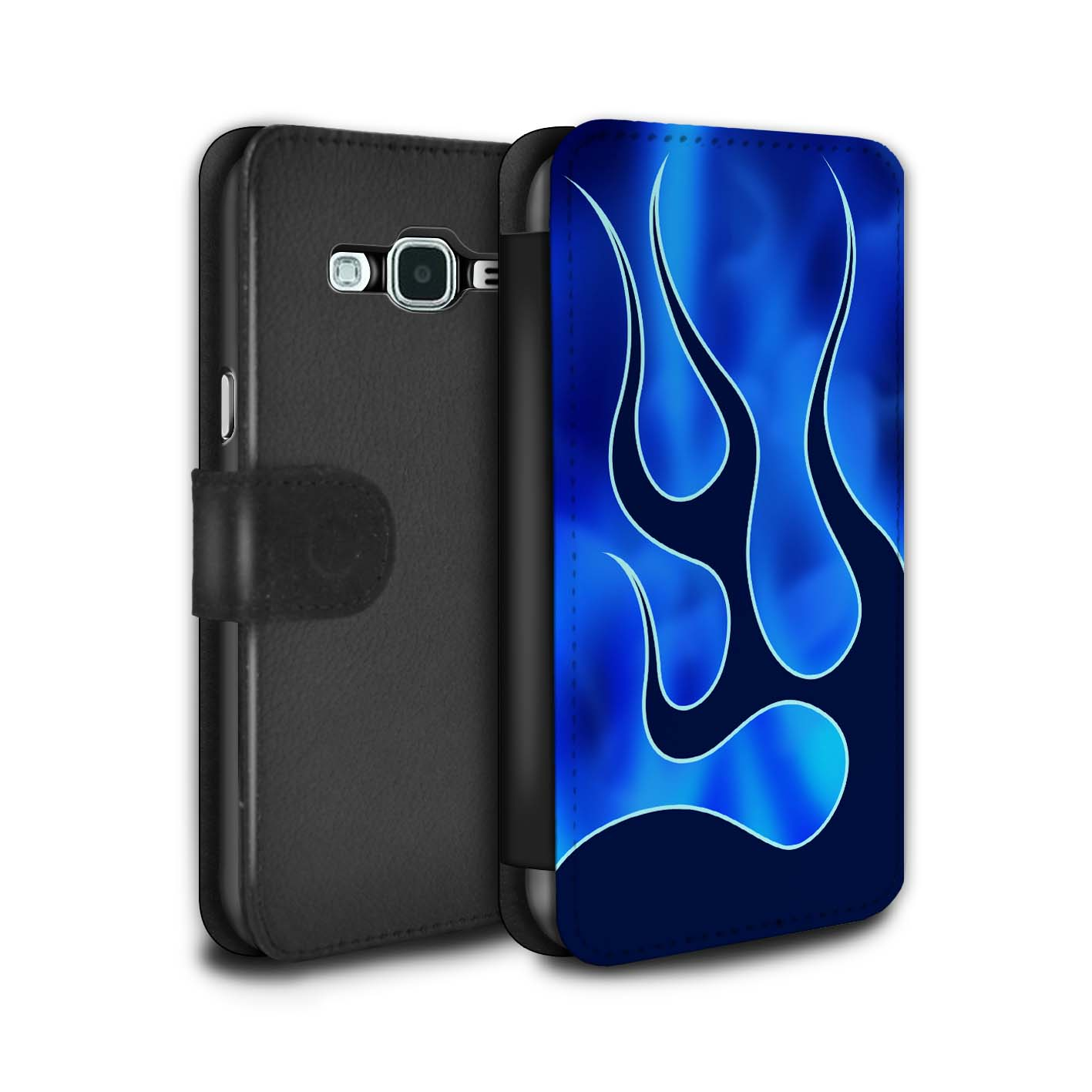 STUFF4-PU-Leather-Case-Cover-Wallet-for-Samsung-Galaxy-J3-Flame-Paint-Job