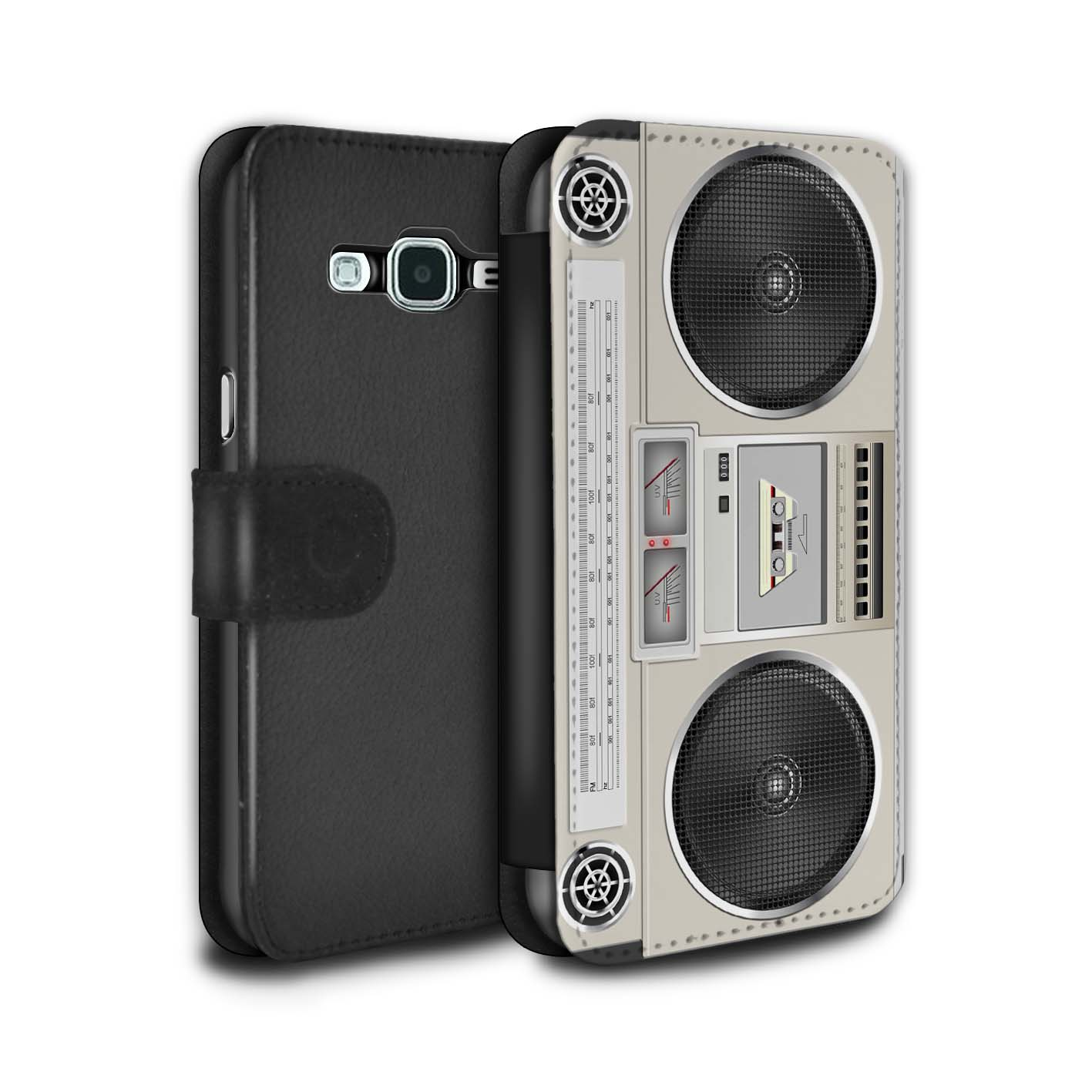 STUFF4-PU-Leather-Case-Cover-Wallet-for-Samsung-Galaxy-J3-Retro-Tech
