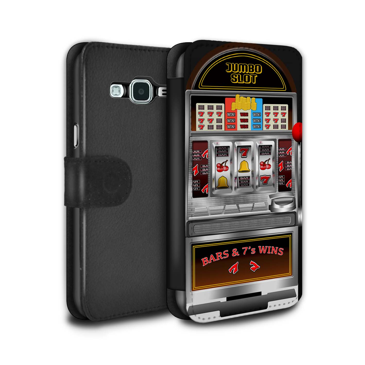 STUFF4-PU-Leather-Case-Cover-Wallet-for-Samsung-Galaxy-J3-Slot-Machine