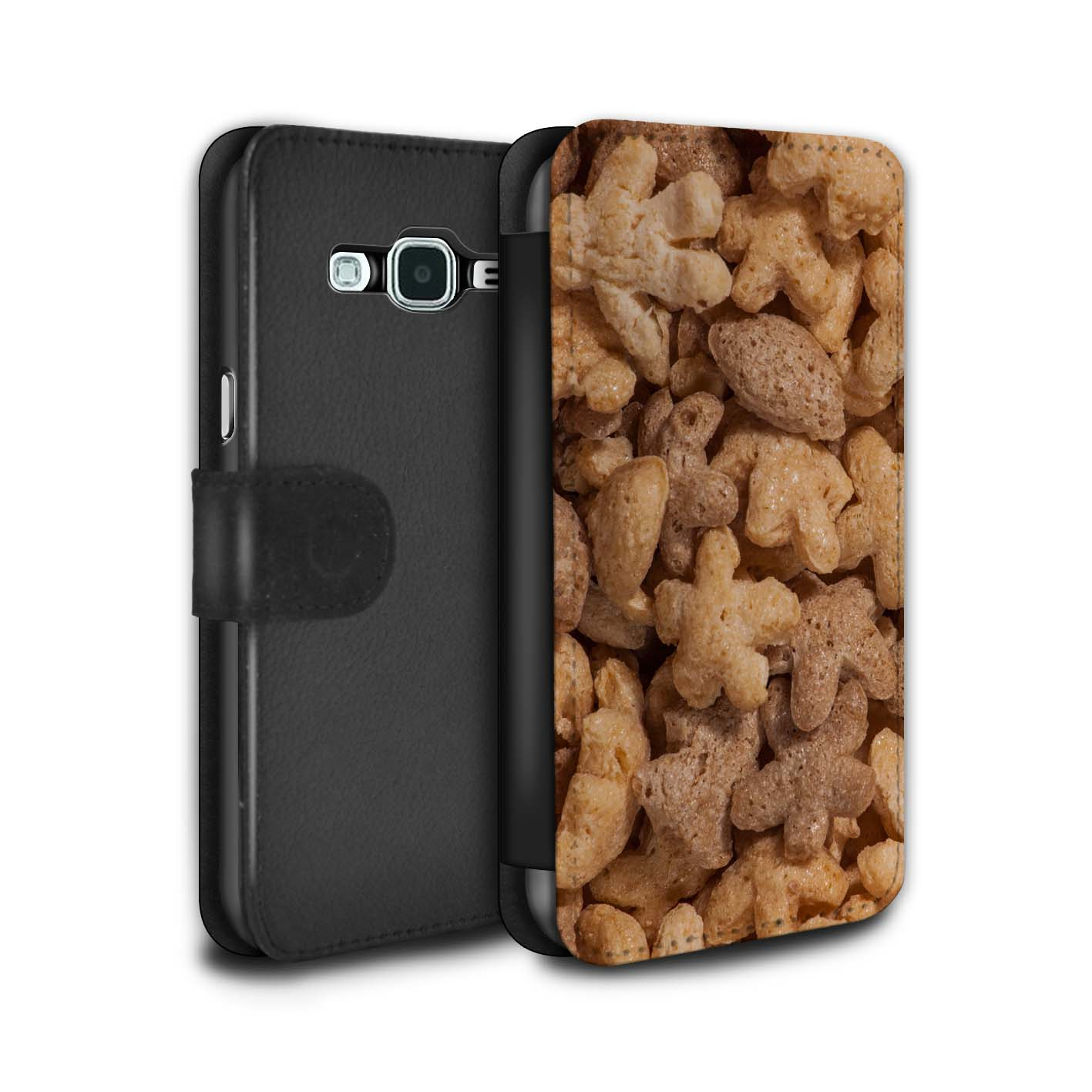 STUFF4-PU-Leather-Case-Cover-Wallet-for-Samsung-Galaxy-J3-Breakfast-Cereal