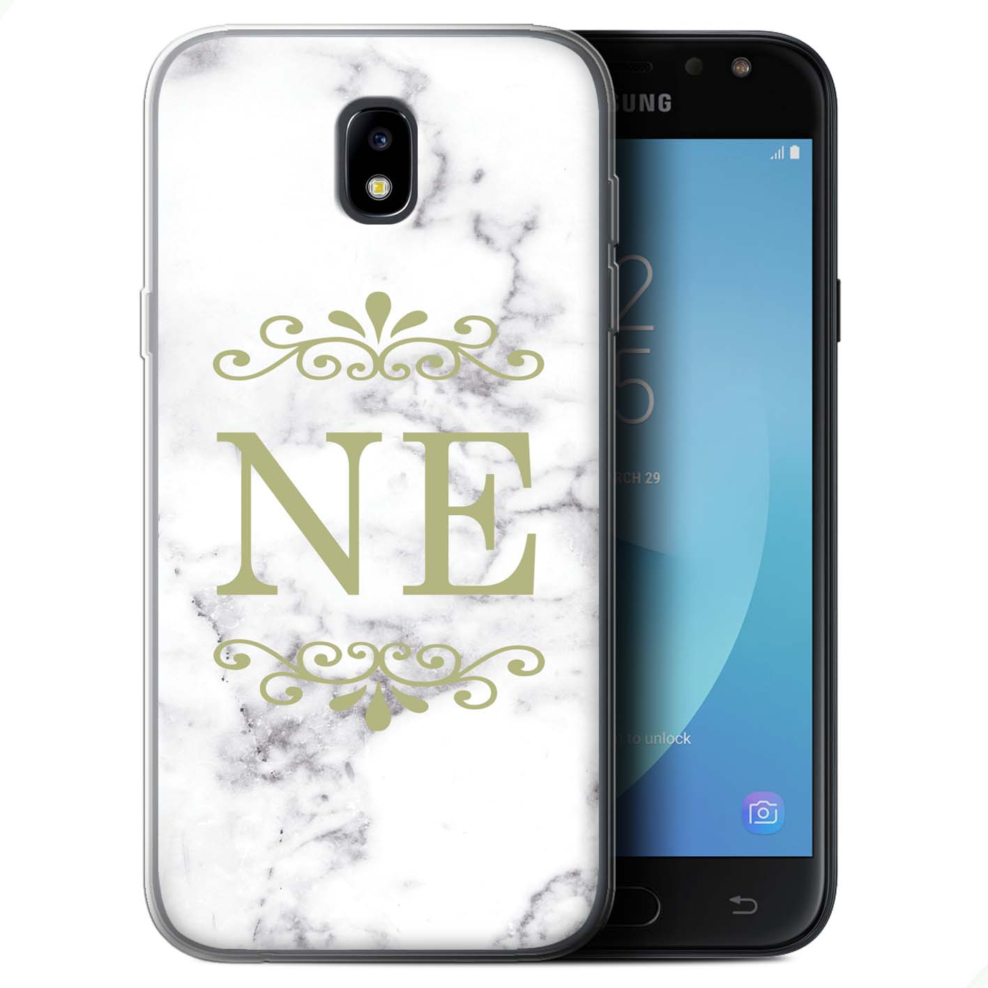 Personalised-White-Marble-Fashion-Case-Samsung-Galaxy-J5-2017-J530-Initial-Gel