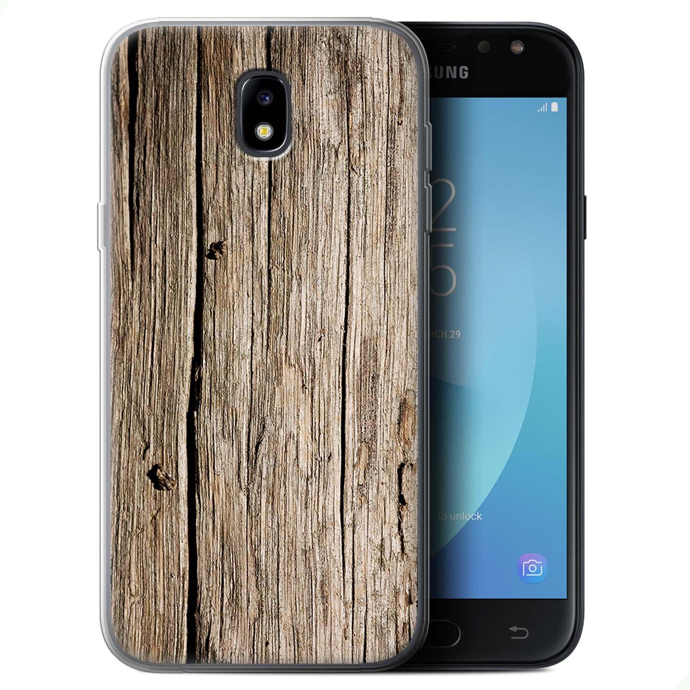Gel-TPU-Case-Cover-for-Samsung-Galaxy-J7-2017-J730-Wood-Grain-Effect-Pattern