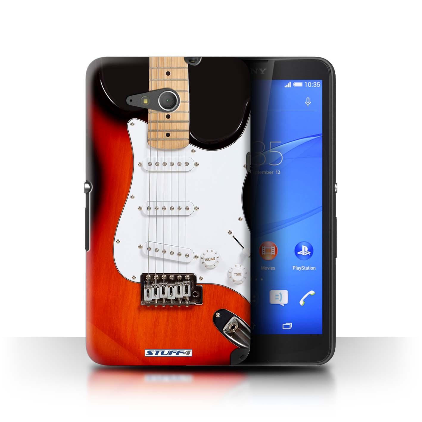 Hard Back Sleeve Case Cover Sony Xperia E4G / Printed Guitar Design