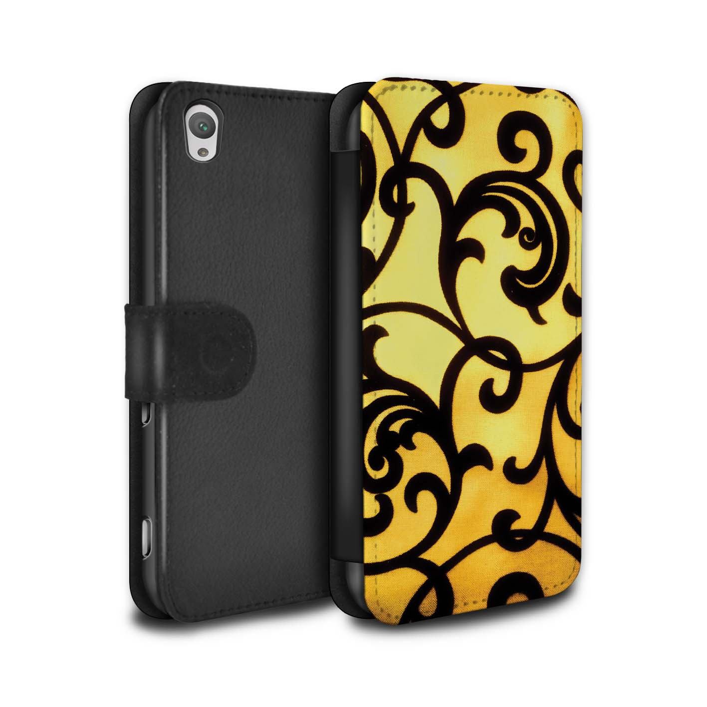 STUFF4-PU-Leather-Case-Cover-Wallet-for-Sony-Xperia-XA-Yellow-Fashion